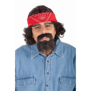 """Private Island Party  - Chong Mexican Costume Kit 4399, $4.50 - $6.99     This Chong Mexican Costume Kit includes one Black Mustache w/ Beard and one Red Bandanna. This Instant Costume kit can complete your Cinco de Mayo Chong Costume. Wear these costume accessories and you'll be the envy of all your friends. You can cut the beard to desired length. Red Bandanna measure approximately 21"""" square. Glasses are sold separatley."""