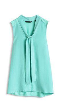 Esprit / Hihaton pusero materiaalisekoitetta - this soft aqua green or off white.