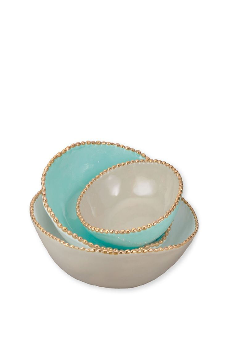 Studded Stacking Bowls- Aqua