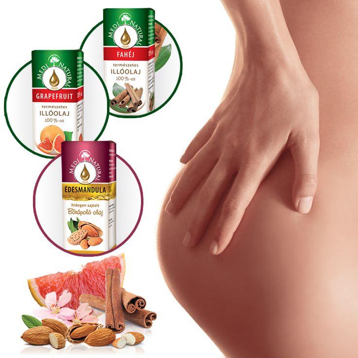 Narancsbőr (cellulit) ellen RECEPT 20 ml MediNatural édesmandula bőrápoló olaj 5 csepp MediNatural grapefruit illóolaj 2 csepp MediNatural fahéj illóolaj Az illóolajokat oszlassuk el a hordozóolajban.
