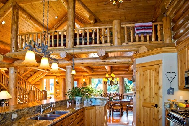 Open concept Kitchen/Living/Dining Room Rustic Log Home, Chink Style Love the Colors!