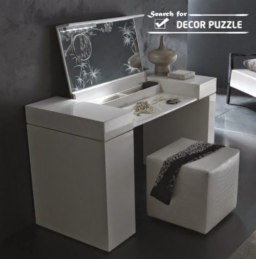 Small White Dressing Table Design With Mirror For Modern Bedroom