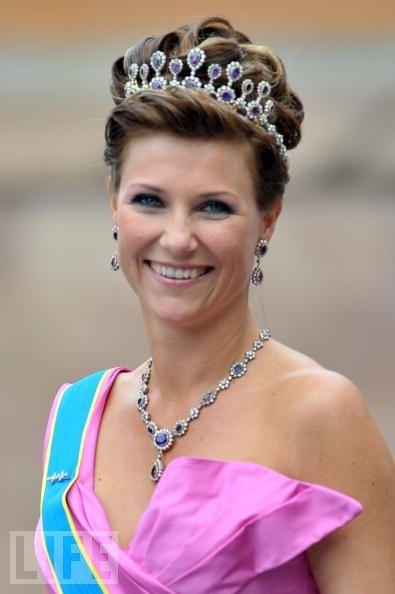 Princess Märtha Louise of Norway wearing amethyst tiara and matching parure.