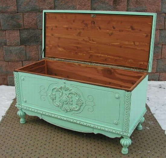pics of refurbished painted furniture | Aqua Chic Cedar Blanket Chest Trunk