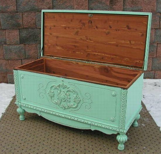 Wonderful Pics Of Refurbished Painted Furniture | Aqua Chic Cedar Blanket Chest Trunk