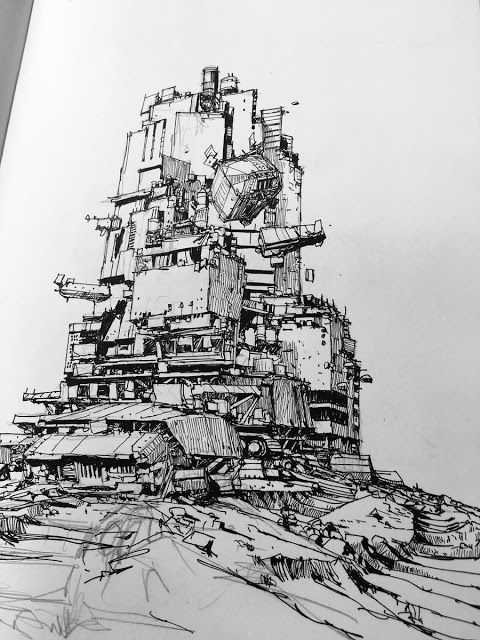 Sketch of a Traction City by artist Ian McQue from #mortalengines | Mortal Engines Books and