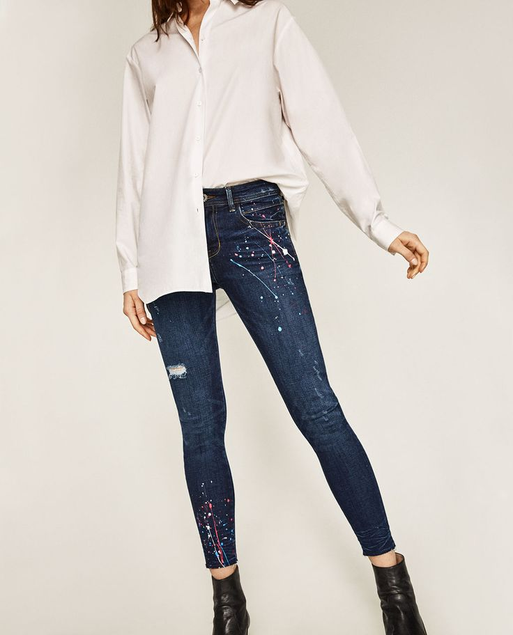 Image 2 of MID RISE PAINT SPLATTER JEANS from Zara