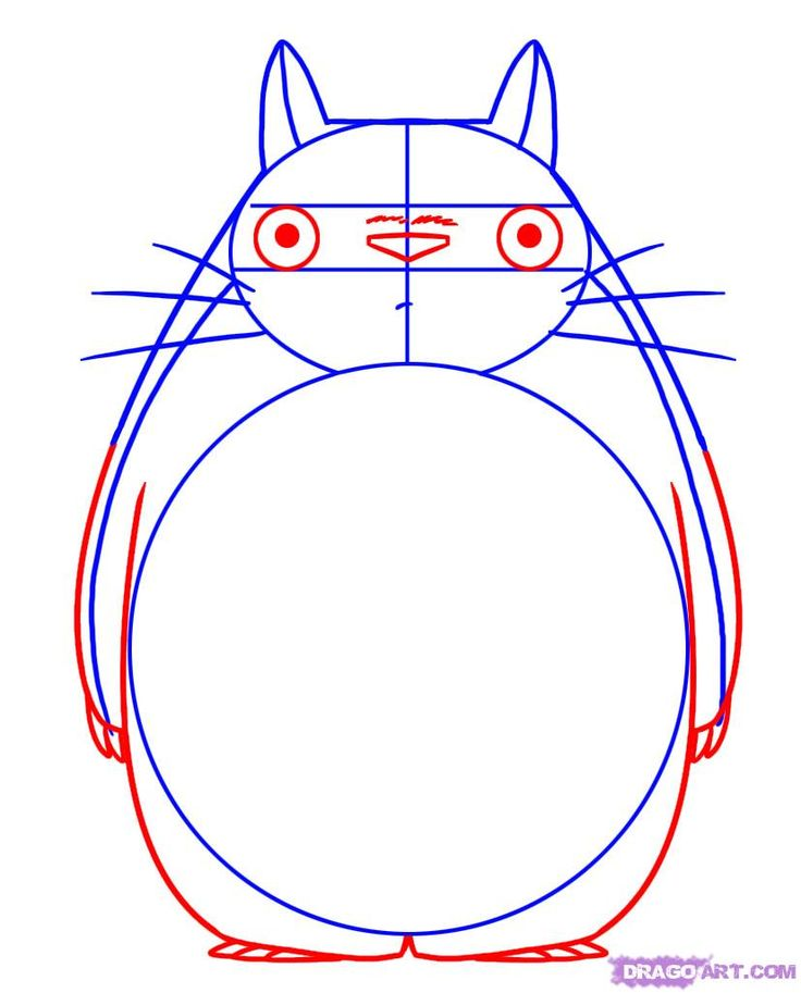 how to draw totoro from my neighbor totoro step 3