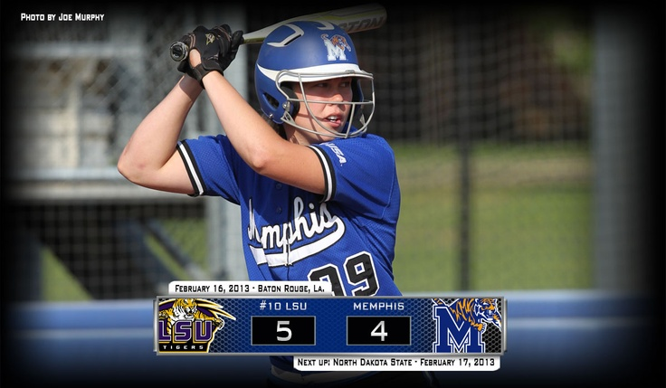 University of Memphis Softball came one out away from beating #10 LSU but the LSU Tigers scored two runs in bottom 7th to win 5-4. Morgan Mosby went 3-for-4 with a 2-run triple. Memphis plays North Dakota State at 10 am on Sunday.