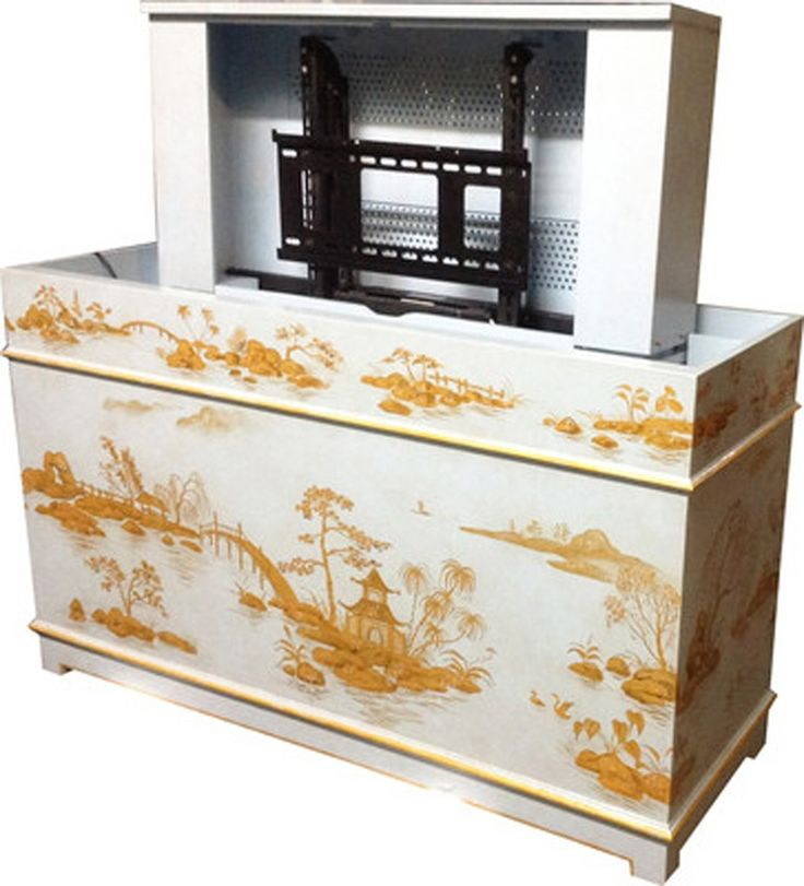 handpainted pop up tv cabinet chinoiserie wood cabinet by two worlds arts
