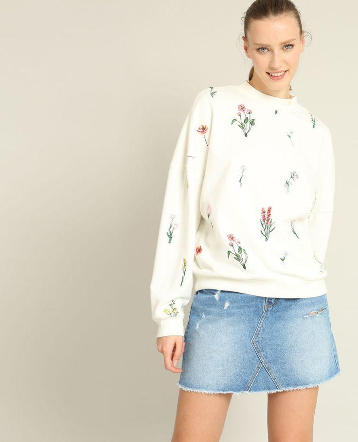 Sweatshirt mit Stickerei Weiß