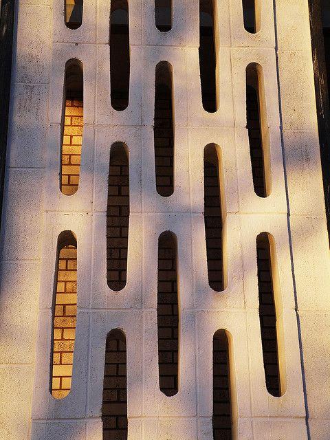 concrete screen on mid-century modern building in West Dallas near Texas Stadium on Hwy 183
