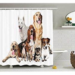 Group Of Dogs Posing For Photo Shoot Shower Curtain Set With Hooks, Brown  Beige