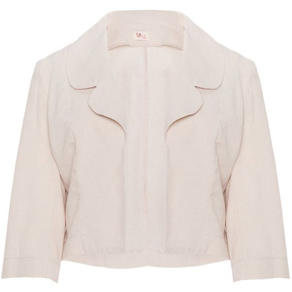 Heart Sand Plus Size Linen-cotton blend blazer ($63) ❤ liked on Polyvore featuring outerwear, jackets, blazers, linen jackets, pink blazer jacket, pink blazer, women's plus size blazers and plus size blazers