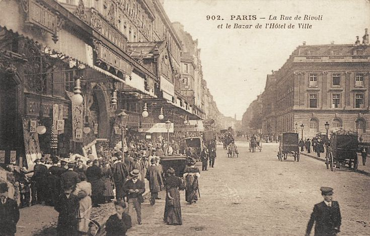 la rue de rivoli et le bazar de l 39 h tel de ville vers 1900 ancienne carte postale images d. Black Bedroom Furniture Sets. Home Design Ideas