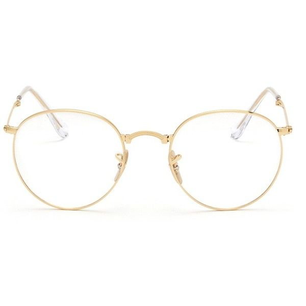 Ray-Ban 'RB3532' round metal folding optical glasses ($255) ❤ liked on Polyvore featuring accessories, eyewear, eyeglasses, glasses, metallic, round eyewear, ray-ban, retro glasses, metal glasses and ray ban glasses