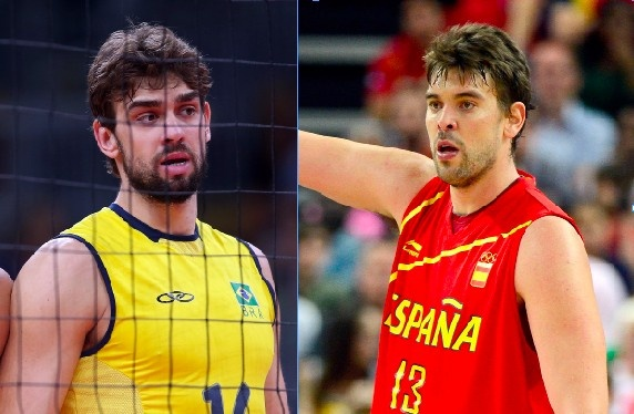 """Doppelgängers: Lucao Gasol: Lucão is the man of the left, a 6'11"""" Brazillian volleyball player. Marc Gasol is the man of the right, a 7'1"""" Spanish basketball center. They may play different sports and speak different languages, but I'm fairly sure Lucão could stealthily kill Marc, fly to Memphis and play for the Grizzlies while writers everywhere wonder how his basketball skills deteriorated. THEY'D NEVER KNOW."""