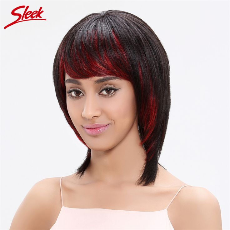 Sleek Straight Human Hair Wigs with Wig Cap Red Bang 100% Brazilian Virgin Hair 13 Inch Color HL1B/RED# Dark Root Wigs Jessica