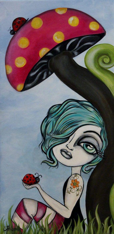 Lowbrow big eye art original painting by Lizzy by lizzyfalconart