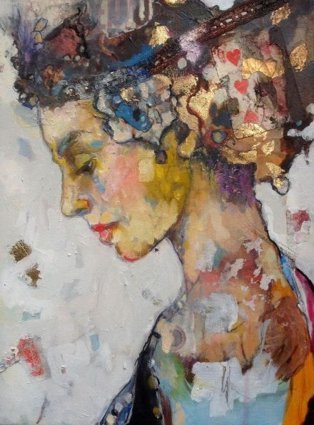 "Juliette Belmonte's ""Lucky Alice"" abstract portrait profile. Seems to be showing shapes and colors in her hair-head - ideas? - as her eyes are closed, maybe she's thinking?"