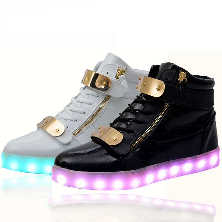 LED Light-up Midtop Shoes White hightop sneaker with color changing,... ❤  liked on Polyvore featuring shoes, sneakers, holiday shoes, hi tops, whit…
