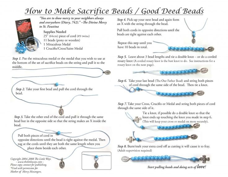 """""""As a child, St. Thérèse, the Little Flower used a string of beads to count her sacrifices and acts of love done for God, in that way she was able to advance in perfection daily. You too, can grow in holiness by following the example of the Little Flower."""" Children can use them as """"sacrifice/good deed beads,"""" a decade of the rosary, or a Divine Mercy Chaplet!"""