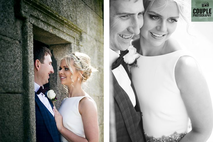 The bride & groom make a stop off in the picturesque Enniskerry village.Wedding at Summerhill House Hotel by Couple Photography.