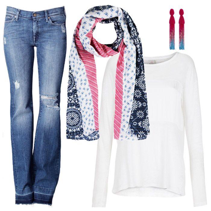 40% - СКИДКА, с которой вы сможете подобрать себе эти стильные немного рваные джинсы известного американского бренда 7 For All Mankind, а также кофту Deha из хлопка и шелка, всё из весенней коллекции 2016г в JiST или jist.ua #fashionable & #trendy #streetstyle #outfitidea: #stylish & #trendy #flare #7ForAllMankind #jeans & #white #Deha #tshirt create #chic #outfit #мода #стиль #тренды #джинсы #футболка #модно #стильно