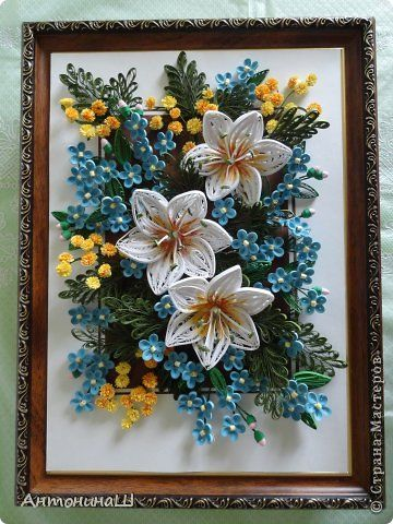 Hello dear master and mistress, Peace Country residents Masters !!  I have not done a great job in quilling, even bored.  That there is such a spring picture.  I invite you to see !!!  Job format A-4 Lilies of the strips 2.5 mm midway tinted watercolor paint.  Tinkerbell from 1.5mm strips.  photo 2