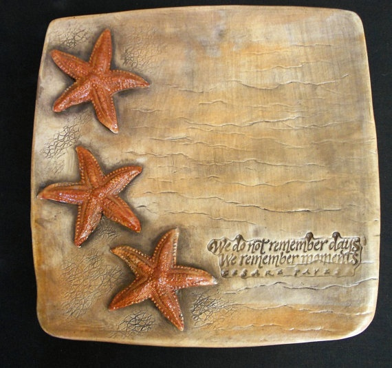 by the sea starfish plate by clayclayclay on Etsy, $45.00