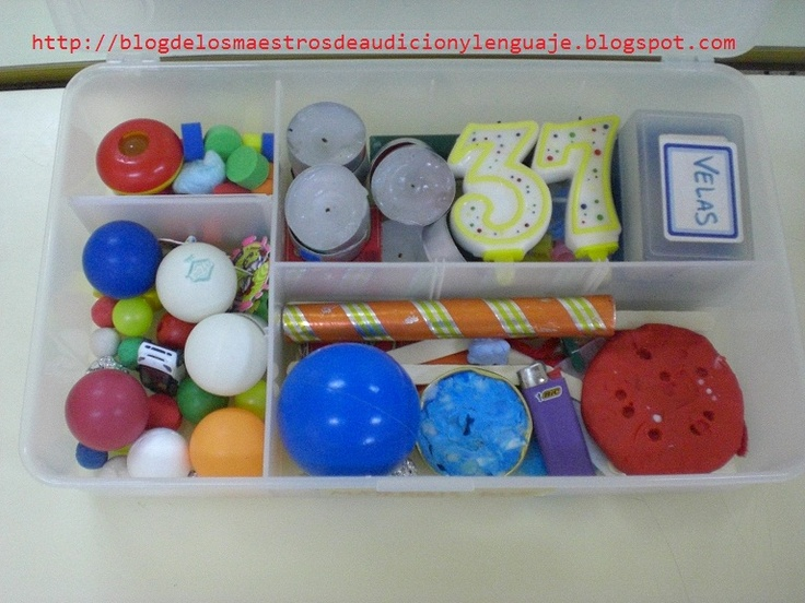Caja estimulación del soplo: pelotas de diferentes tamaños, velas, tubos, peonzas, papel de seda, plumas, etc
