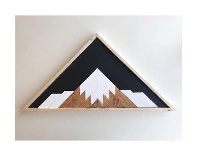 Mountain Range Reclaimed Wood Rustic Home Mountain Art Wood