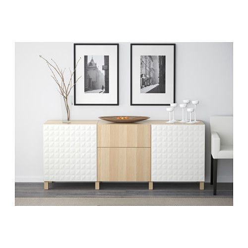 BESTÅ Storage combination with drawers - Djupviken white/Lappviken white stained oak effect, drawer runner, push-open - IKEA