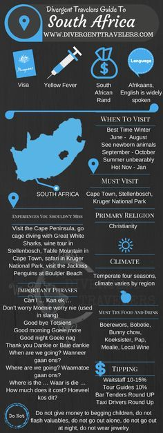 Divergent Travelers Travel Guide, With Tips And Hints To South Africa . This is your ultimate travel cheat sheet to South Africa. Click to see our full South Africa Travel Guide from the Divergent Travelers Adventure Travel Blog and also read about all of the different adventures you can have in South Africa at http://www.divergenttravelers.com/destinations/south-africa/