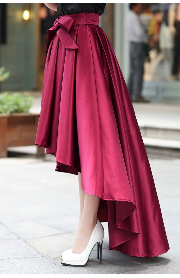 High Quality Burgundy Skirt, High Low Skirts, Women Skirts