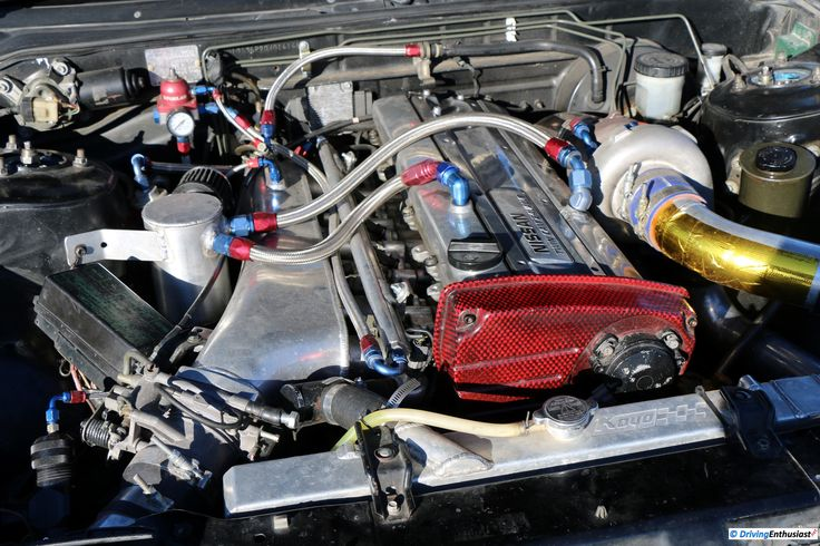 Nissan 240SX (Silvia S13) with 2.6l Skyline RB20DET single turbo I6 engine swap. As shown at the September 2016 Cars and Coffee event in Austin TX USA.