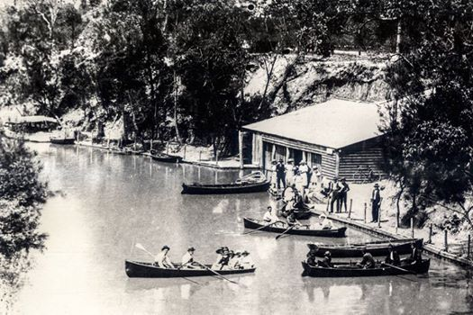 Latty's Boatshed and Pleasure Ground, Fairfield, photographed about 1924.