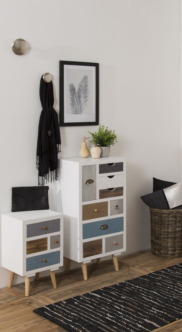 Chest of drawers with 9 multi-coloured drawers made of wood