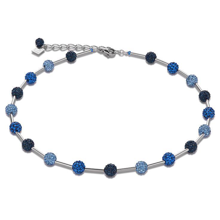 Halskette Kristalle Pavé & Edelstahl blau | COEUR DE LION