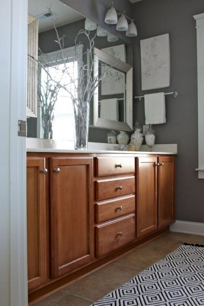 Bathroom Color Schemes With Oak, Bathroom Wall Colors With Dark Brown Cabinets