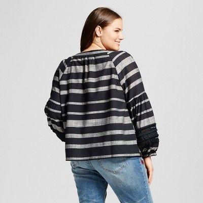 Women's Plus Size Long Sleeve Beach Tunic - Who What Wear Black Stripe 4X