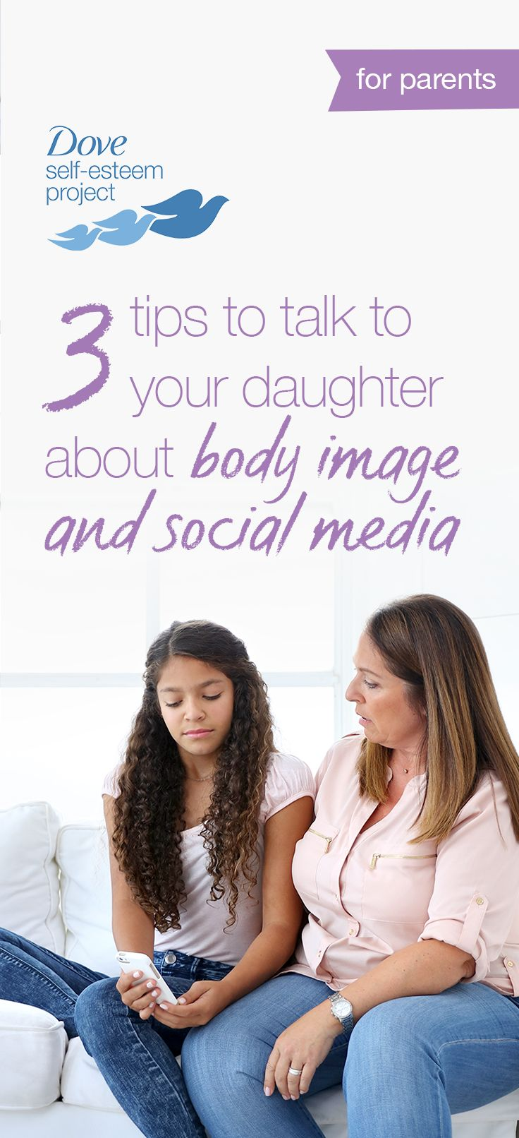 A recent study revealed social media can increase negative or obsessive thoughts about appearance, especially in girls. Since it's not going away any time soon, make sure you understand how social media affects your teens. Here are 3 tips to help shape the conversation with your daughter. For more info—head to www.pinterest.com/selfesteem. #SelfEsteemProject