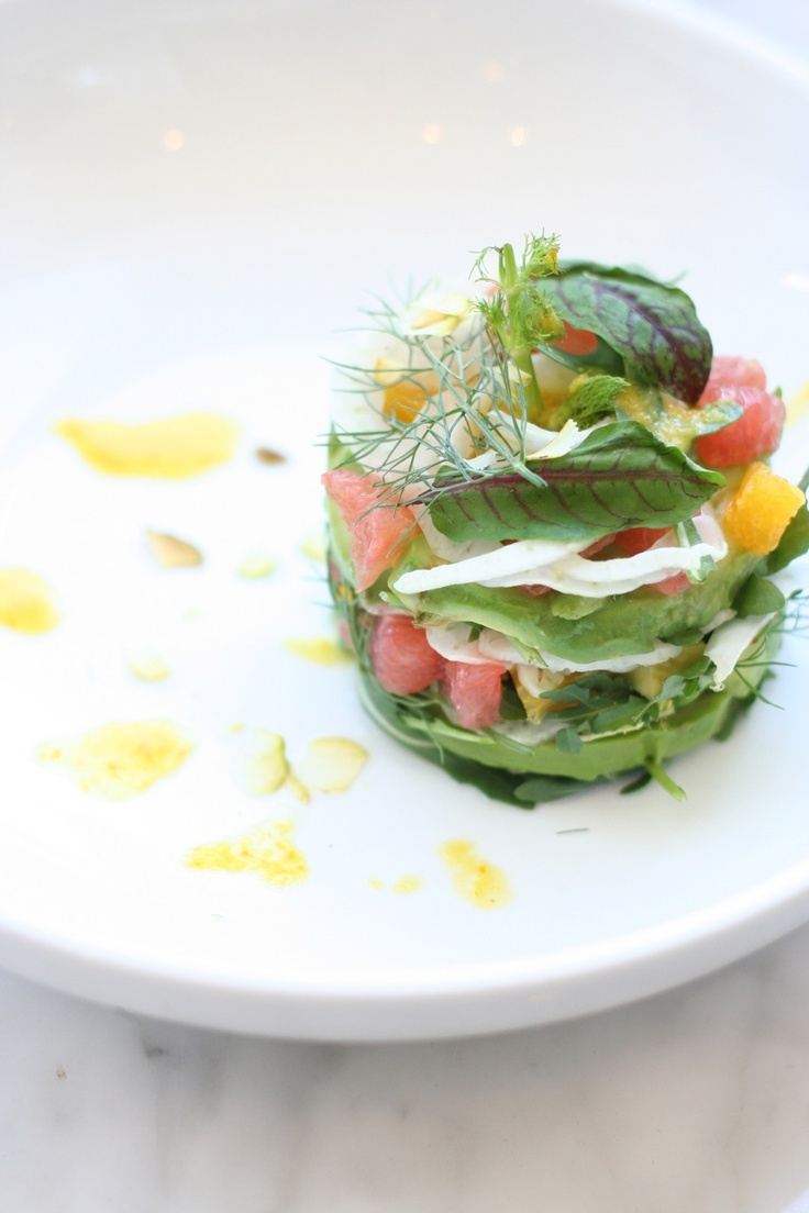 AVOCADO-PINK GRAPEFRUIT SALAD. orange. fennel. arugula. michael's fist course. mk culinary finals. level one.