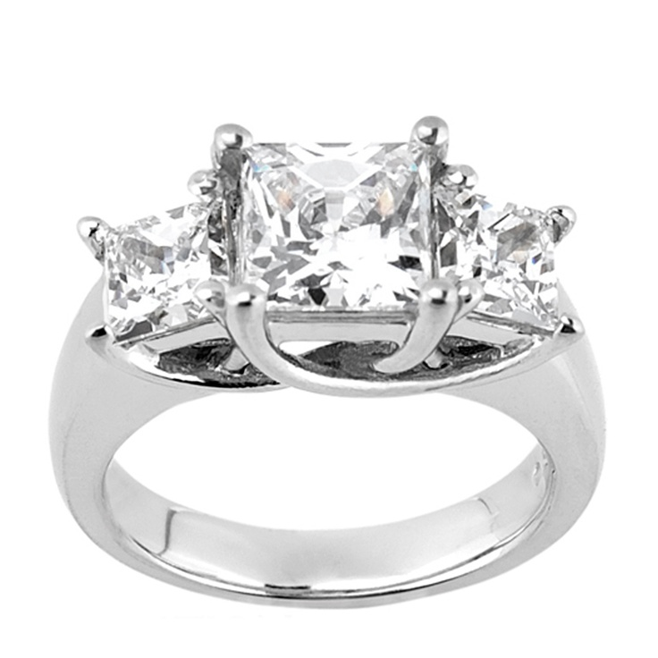 14K Yellow Gold 2.40 cts Princess Cut Lab Created Engagement Ring $1465