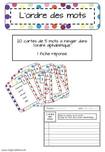 jeu pour classer une liste de mots dans l'ordre alphabétique.