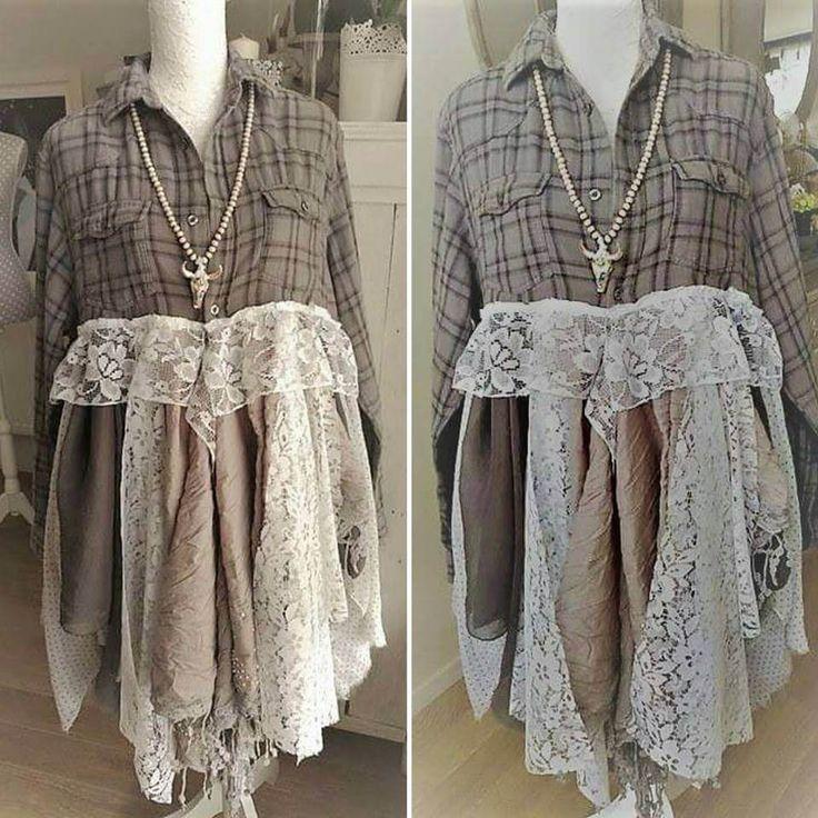 Robe chemise bohème, en flanelle grise et dentelle blanche, style Stevie Nicks hippie gypsy. Vêtement boho romantique marché français. de la boutique PinkWaterShop sur Etsy