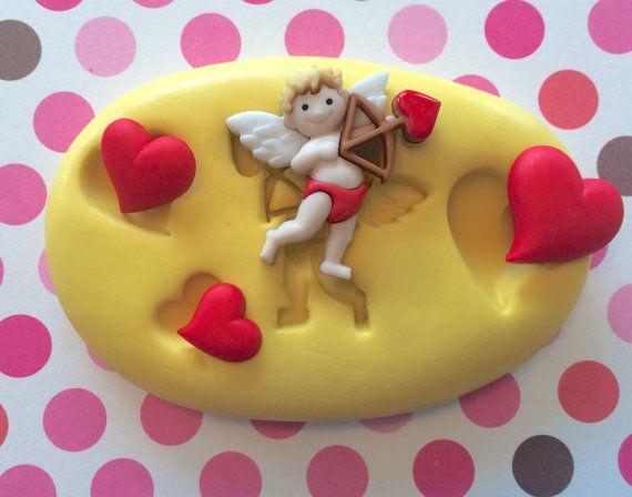 VALENTINES Silicone MOLD - Heart, Cupid, Fondant Mold, Food Mold, Cake Pops, Macaron, Jewelry Mold, Chocolate Mold, Cake Mold, Gumpaste