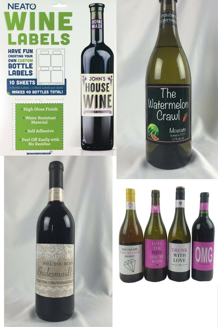 DIY Personalized Printable Blank Wine Labels at https://www.amazon.com/Neato-Blank-Wine-Bottle-Labels/dp/B00YB3LQZA/  Make your own custom wine bottle labels. Made from high quality vinyl water resistant material. Great for wedding, anniversary, birthday celebration, bridal party, business promotion, pregnancy announcement, and more