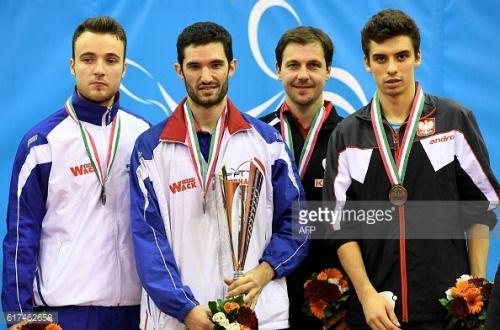 Gold medalist France's Emmanuel Lebesson (2nd L) poses on... #krasnoyeru2: Gold medalist France's Emmanuel Lebesson (2nd L)… #krasnoyeru2
