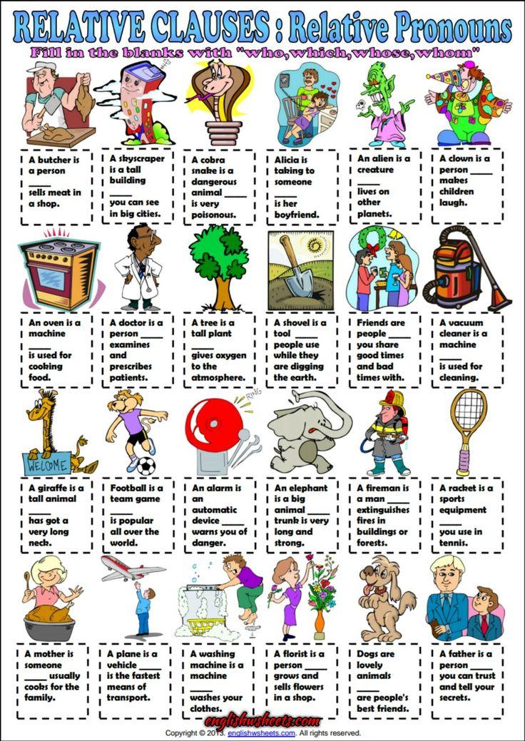 Relative Pronouns ESL Grammar Exercise Worksheet